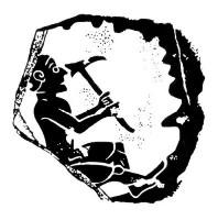 Motiv der antiken Scherbe einer bemalten griechischen Vase mit der Darstellung eines Bergmanns bei der Arbeit unter Tage