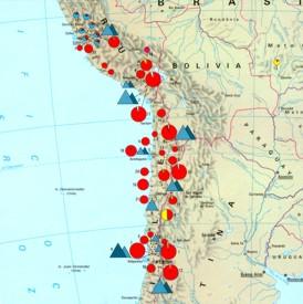 Abbildung 11: Übersichtkarte der südamerikanischen Anden mit einer Vielzahl von Kupferbergwerken