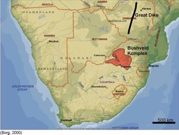 Der Bushveld Komplex stellt eine ehemalige Magmenkammer in der Erdkruste dar, die heute durch Erosion z.T. freigelegt worden ist