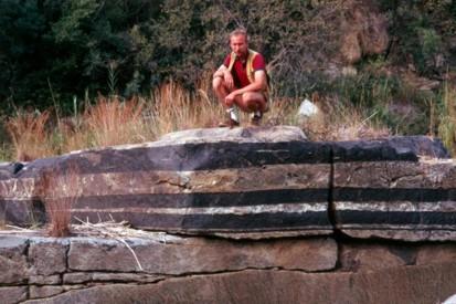 Aufschluss des Chromit-Flözes 'UG1' in der Schlucht des Dwars River im Osttransvaal, Südafrika